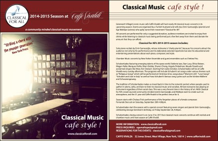C4A at Caffe Vivaldi- Press release