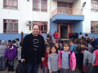 Emir Gamsizoglu after his outreach concert in an elementary school in Antalya