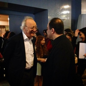 Emir Gamsizoglu with legendary pianist Alfred Brendel after his lecture on Schubert