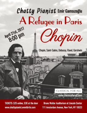 A refugee in Paris-Chopin-Postcard